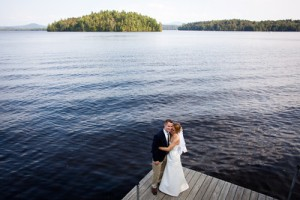 The wedding couple on the dock after the ceremony